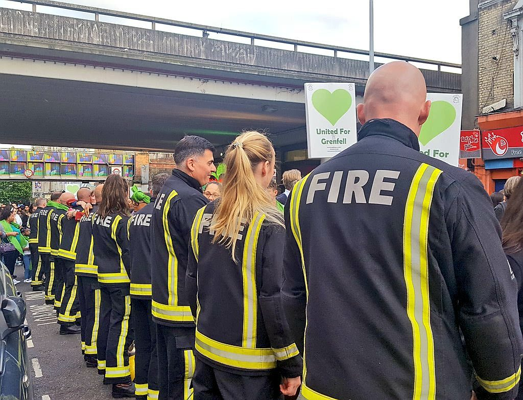 Photo of the firefighters supporting the Grenfell community